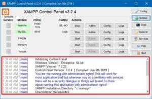 Xampp cantrol panel configure